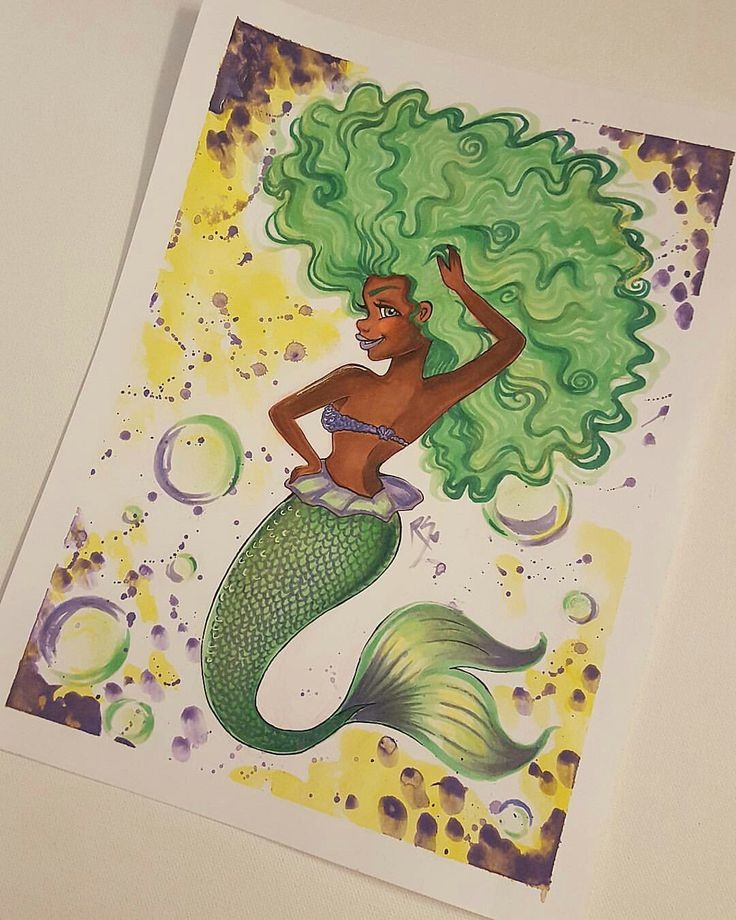 Green Tumblr Ariel Mermaid Inspired Girl Drawing From