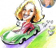 Caricature of the Boss driving - Karikatures.com #art #caricature #cartoon #boss #bossday #custom #car #handdrawn #chicken