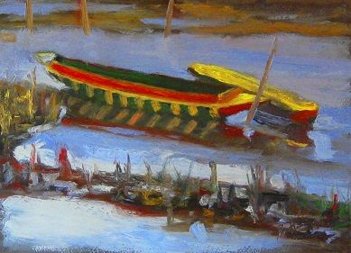 Fishing Boats, Nong Kieu River, Laos  Oil on Paper.  Get this painting as a print on paper or canvas at http://www.en-plein-air.com