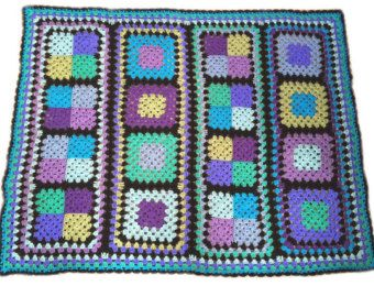 Ganchillo afgano manta hecha a mano del ganchillo oro