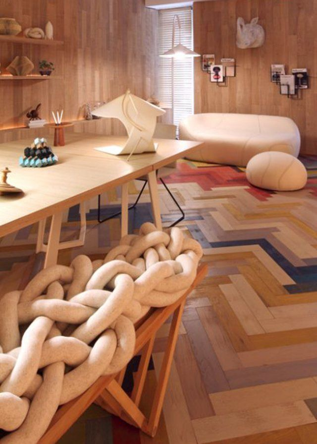 le parquet peint en mille couleurs a vivre pinterest les parquets parquet et peindre. Black Bedroom Furniture Sets. Home Design Ideas