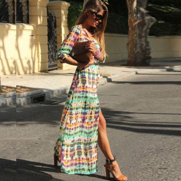 V-neck Open Long Sleeve Long Dress