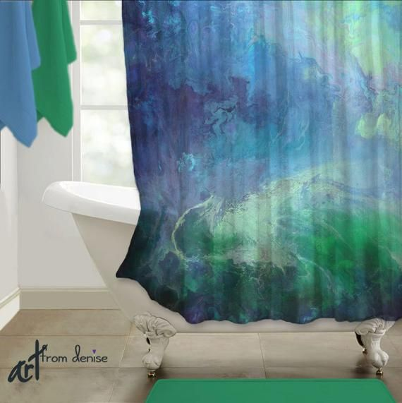 Emerald Green And Navy Blue Shower Curtain Master Bathroom Decor Abstract Fabric Shower Stall Navy Blue Bathroom Decor Blue Bathroom Decor Blue Shower Curtains