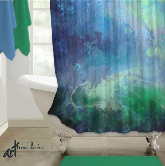 Emerald Green And Navy Blue Shower Curtain Master Bathroom Decor