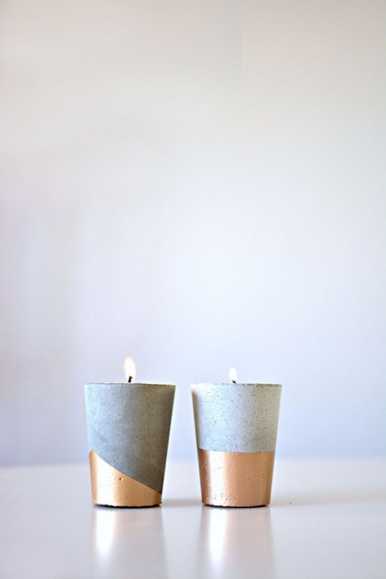 DIY cement candle votives with gold color block. Candele votive fai da te in cemento con rifiniture oro e argento.  www.monterosawicks-store.com