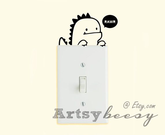 Here is our color chart: http://s3.postimg.org/nfy1tzf6r/Color_Charts3.png  Adorable dinosaur decal that adds cuteness to your light switch!  This item is FREE SHIPPING in the US****  We are using Oracal 631, which is a high quality vinyl that is easy to apply and remove on any smooth surface without leaving glue residue.  *If you want it in any other size, please contact me and I will create a custom order for you.  *Color may not be 100% accurate due to different monitor screens. ::: S H O…