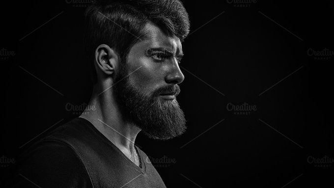 Bearded man black and white portrait by Usmanov Stock Photography on @creativemarket