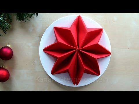 Servietten falten Anleitung: Stern für Weihnachten basteln - Weihnachtsdeko - YouTube