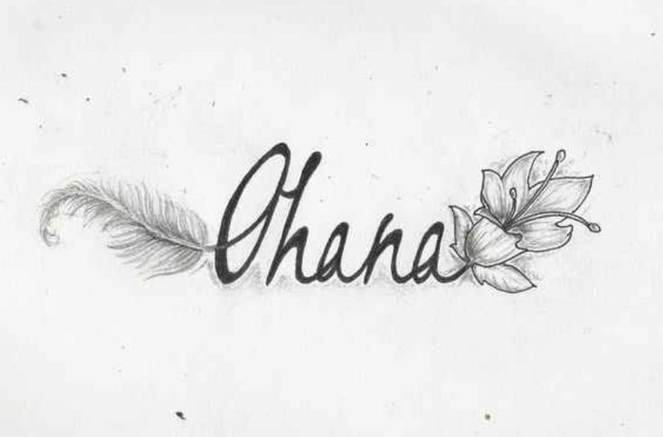 The word Ohana with a flower and feather coming out of it | Tattoo.com