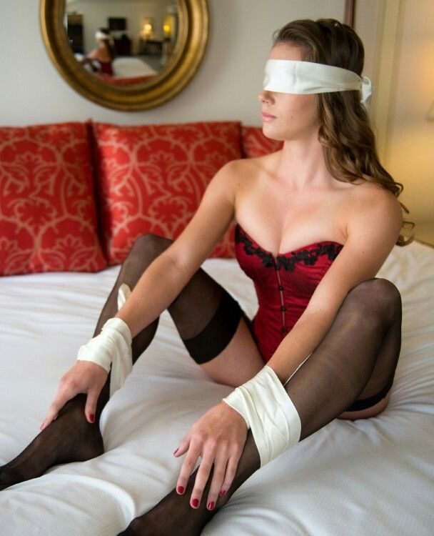 Bedroom bedpost scarves femdom bondage
