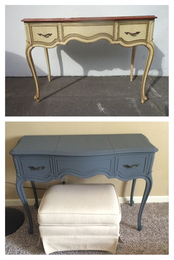 Drexel French Provincial Vanity, Upcycled By Brass Hippo In Blue Silk Grey  Homemade Chalk Paint. Havenu0027t Distressed It Yet Because Iu0027m Loving The Clean  ...
