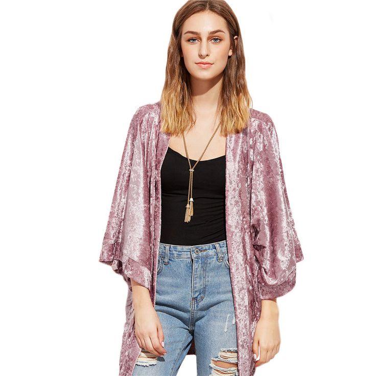 Women Pink Open Front Velvet Vintage Kimonos //Price: $30.73 & FREE Shipping //     #hashtag1