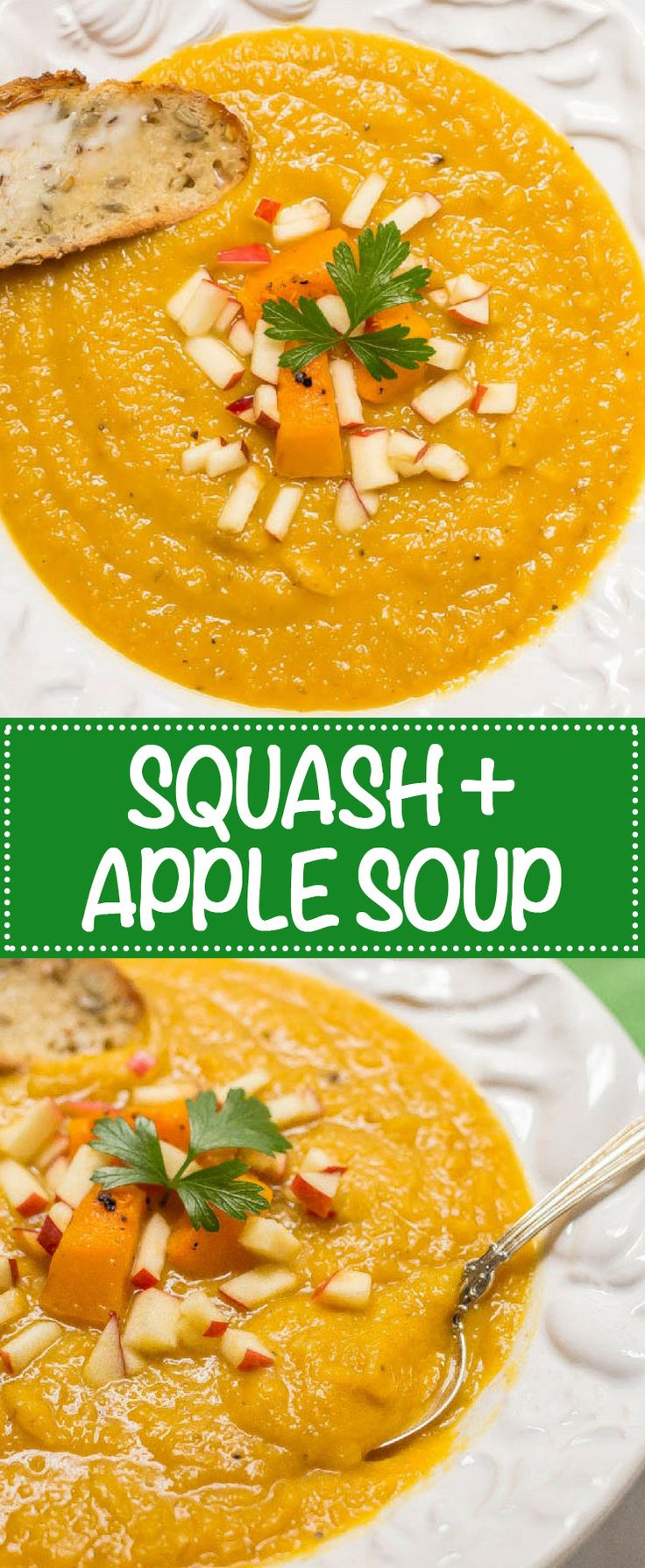 Roasted butternut squash apple soup is perfect for a cozy fall dinner! This soup is thick and filling and has a perfect background of sweetness and warm spices! (Gluten-free, vegan) | www.familyfoodonthetable.com