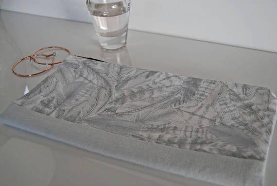 Linen clutch handbag make up bag cosmetic bag pale grey