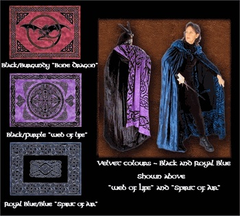 Celtic Magick Cloak - Lined 51-inch Cotton and Velvet Celtic Cloak- 1 Left - pagan wiccan witchcraft magick ritual supplies
