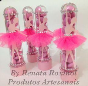 tubete decorado com bailarina feita com bailarina em papel e saia em tule, as balas não acompanham o produto.