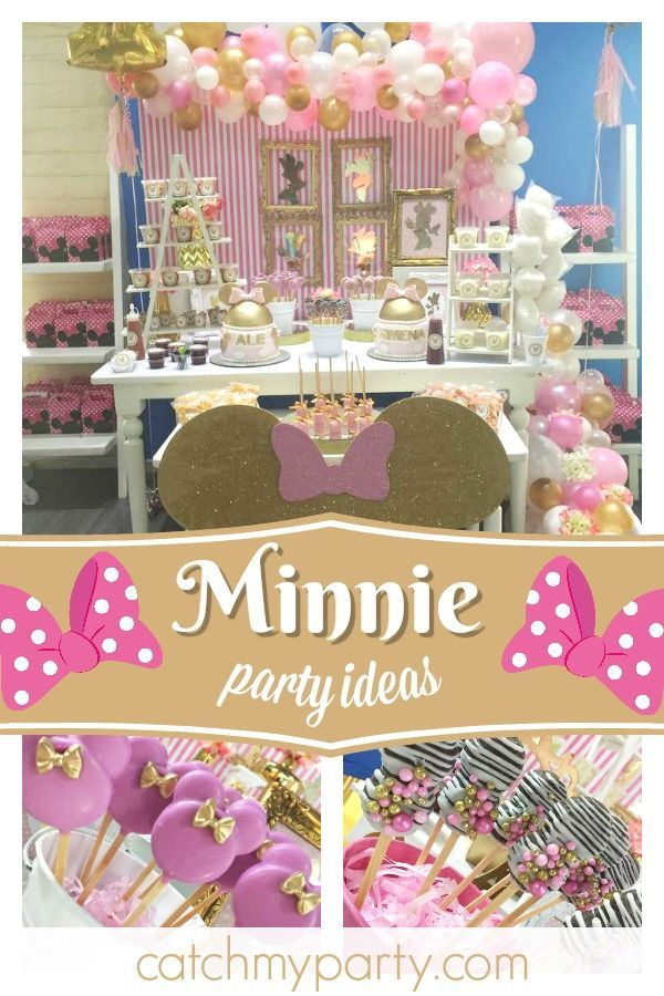 Minnie Mouse Pink And Gold Birthday Minnie Mouse Knows How To Celebrate Pink And Gold Birthday Party Minnie Mouse Birthday Party Minnie Mouse Birthday Decorations