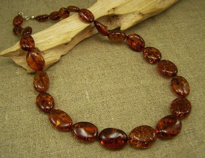 Amber beads necklace - beautiful cognac colour.