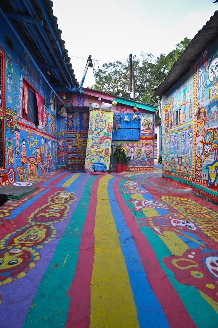 Rainbow Family Village in Taichung, Taiwan: Places To Visit, Families Village, Rainbows Families, Street Art Utopia, Streetartutopia, Color, Taiwan, Photo, Vacations Travel