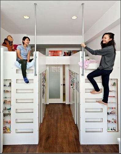Lofted beds with walk-in closet underneath. This is by far the coolest thing ever. Boys or girls even… just use as toy storage or playroom space.