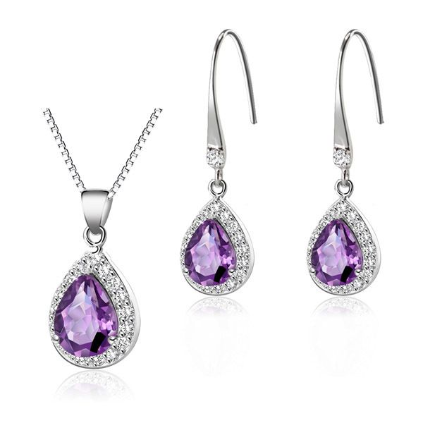 Find More Jewelry Sets Information about Free Shipping wholesale  Fashion 925 Sterling Silver Natural Amethyst Drop Earrings and Necklace Fashion Jewelry Sets,High Quality jewelry gemstone,China jewelry earring display Suppliers, Cheap earrings plate from TangYu Silver Jewelry( Solid Silver, Not Plated Silver) on Aliexpress.com