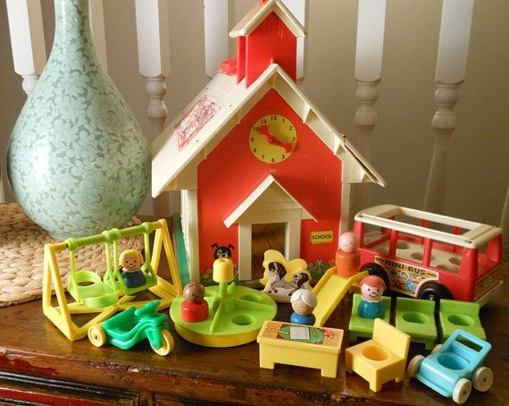 Vintage Little People Playset Fisher Price School with Playground, Bus, Figures, Furniture 1970s