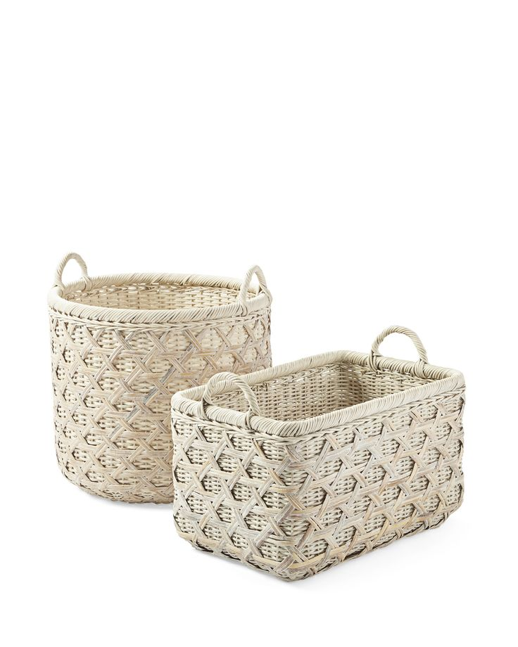 Two sizes, two shapes. Bamboo caning and a whitewashed finish prove that even conquering clutter can be done with plenty of style. We see this bringing order to office or living room, but it can easily do double duty in the nursery as a catchall for toys one minute, extra blankets the next.