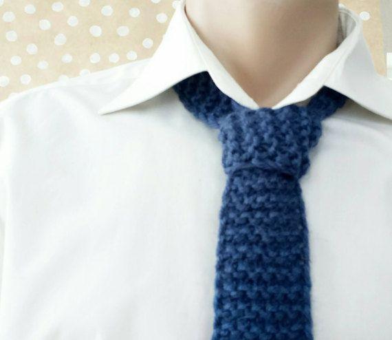 Hand knit blue tie knitted wool tie necktie warm by CuteGiftStudio