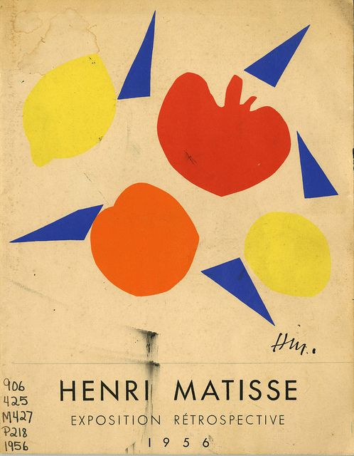 Jean Cassou, Henri Matisse Exposition Retrospective, Muse National D'Art Moderne Paris, 1956. Cover image by Henri Matisse. #matisse