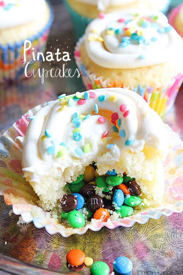 Pinata Cupcakes scream party time! With a fun surprise M&Ms center, these cupcakes will bring smiles to everyone.