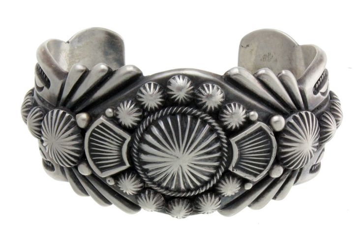 Harry H Begay, Silver Ingot Hammered Cuff, File, Stamping, Cutouts, Small