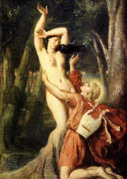 """테오도르 샤세리오(Theodore Chasseriau)의 아폴로와 다프네(Apollon et Daphne) / 1819 / 루브르 박물관  """" 내 아내가 될 수 없게 된 그대여, 대신 내 나무가 되었구나. 이제 내 머리에는 월계관이 오르고, 내 수금, 내 화살통에 그대의 가지가 꽂히리라."""""""