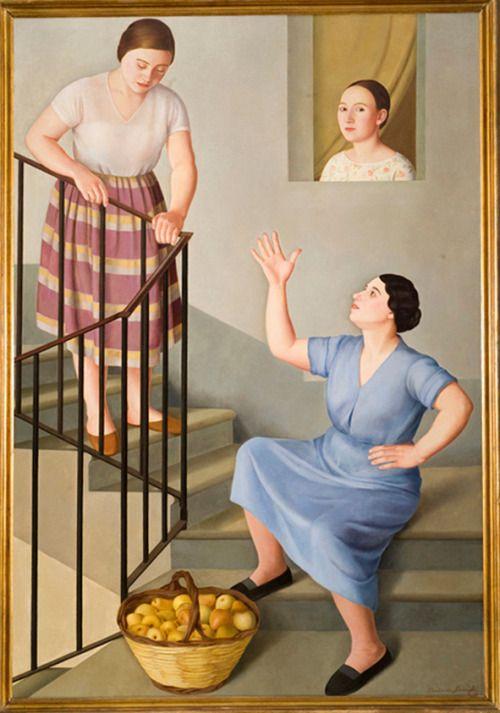 Antonio Donghi, Donne per le scale 1929