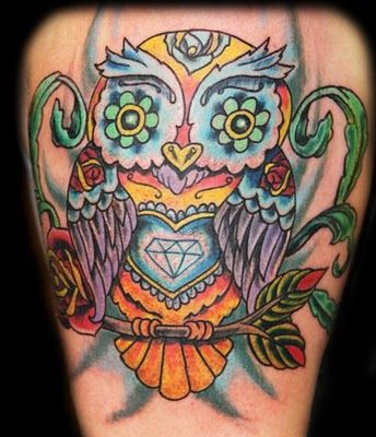 Tattoo with everything! Candy skull owl and diamond. Say WHAT!?!