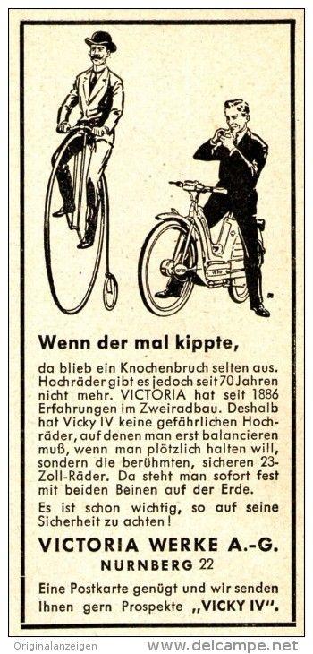 Original-Werbung/ Anzeige 1958 - VICTORIA FAHRRÄDER - NÜRNBERG - ca. 45 x 100 mm