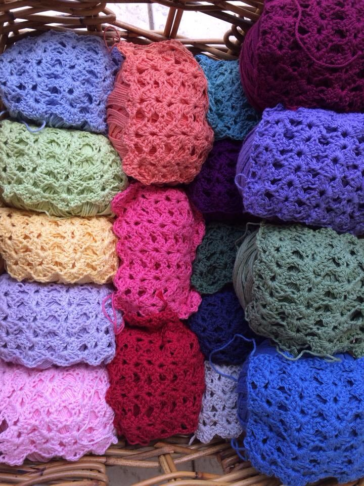 Bendigo Woollen Mill Cotton... My colour swatches to decide what colours to use for the blanket. A basket full of colour!!!
