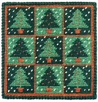 Christmas Trees Tapestry Kit Picture/Pincushion (oo)