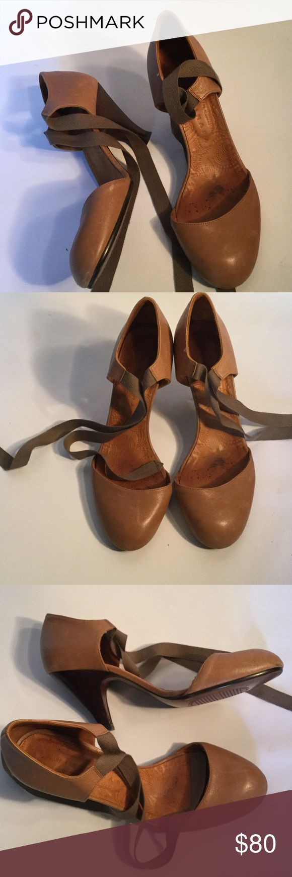 """Chie Mihara ankle tie shoes Tan leather heeled shoes with ankle strap from Chie Mihara. These are beautiful and comfortable. Heels measure 3.5"""".  Excellent preowned condition. Chie Mihara Shoes Heels"""