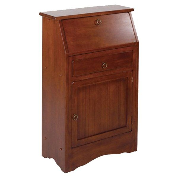 Featuring a roll-top design, this wood secretary desk adds traditional appeal and handsome style to any space. Use it to round out the parlor ensemble, or place it in the master suite to craft a small workspace.