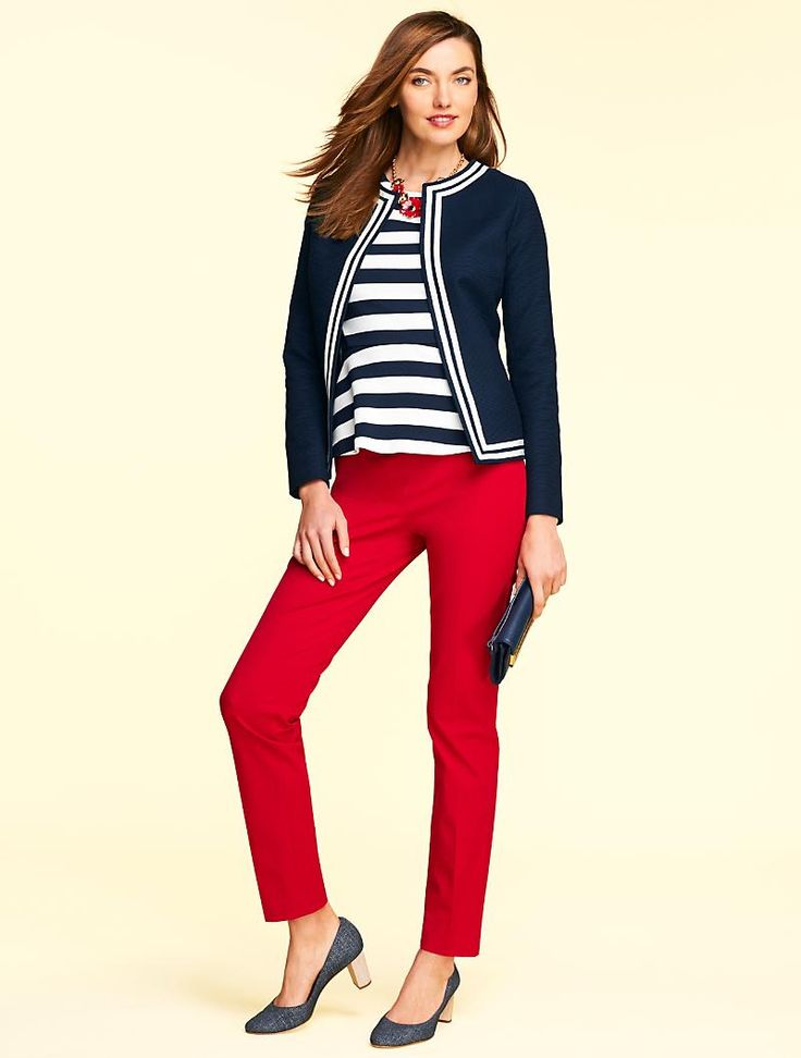 Your favorite Talbots Chatham Ankle is back, and this time around we opted to forgo the front pockets for an even smoother, more flattering fit. Cut from our compact bi-stretch cotton and tailored in a slim-leg silhouette, these pants are designed to hold their shape and move with comfortable ease.