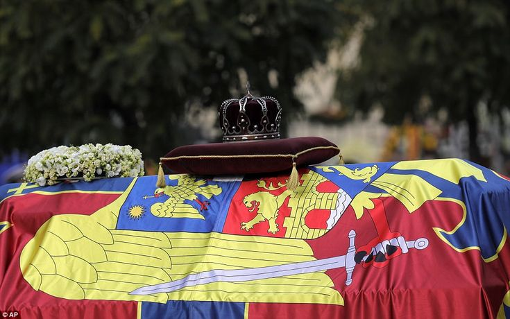 The royal crown is placed on the coffin of late Romanian King Michael during the funeral c...