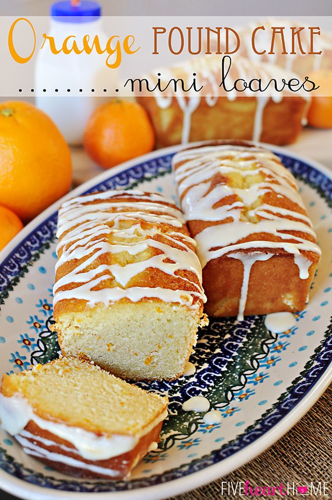Orange Pound Cake Mini Loaves ~ moist, buttery, and bursting with sunny citrus flavor! | FiveHeartHome.com
