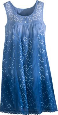 Ombre Tie-Dye Cotton Tank Chemise- Beautifully Tie-Dyed, Batik-Print Chemise Is More Hip Than Hippie