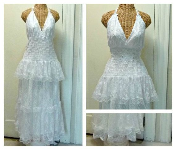 Halter Wedding Dress 2 pc Ready To Ship Lace and Skirt Medium Large White Tiered Boho Chic Lined Bridal Outdoor Romantic Womens Separates