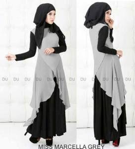 Baju muslim syar'i miss marcella grey P160 - Busana Muslim Terbaru