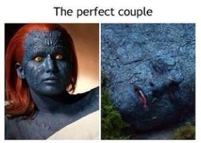 I forever ship katniss and peeta, but this is too funny not to pin. Mystique. X men. Hunger games.
