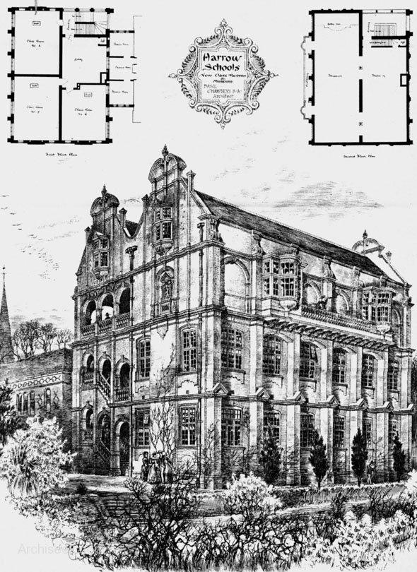 1886 - New Class Rooms & Museum, Harrow School, London - [ancestor a Founder of Harrow School]