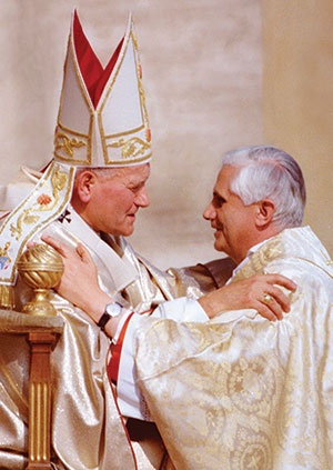 """""""Christ remains the center, not the Successor of Peter,"""" Pope Francis told journalists after his election: """"Christ, Christ is the center.""""  How popes John Paul II, Benedict XVI, and Francis follow Christ."""