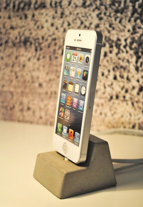 Love this! Concrete iPhone 5 Docking Station