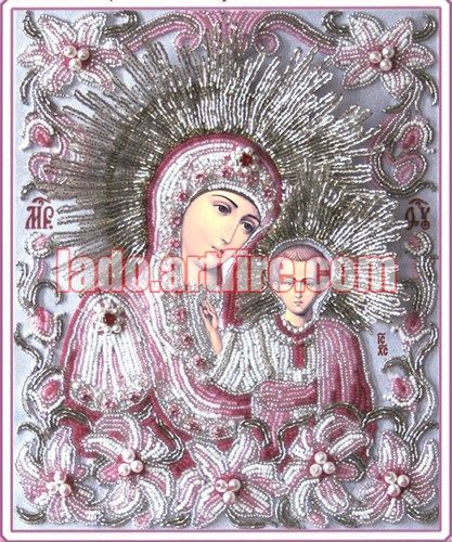 Kazanska a part of lilies bordered wedding pair icon DIY bead embroidery kit  Manual is in Russian language only.   This icon uses fastening technique. The point is - you should assemble a string of b
